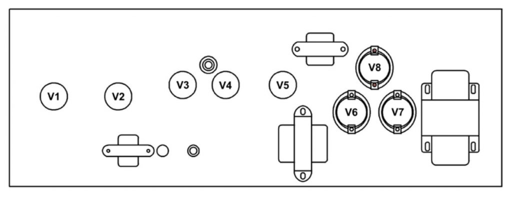 Valve layout on a Tone King Imperial MKII
